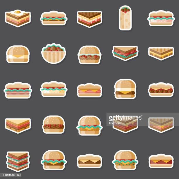 サンドイッチステッカーセット - ローストビーフ点のイラスト素材/クリップアート素材/マンガ素材/アイコン素材