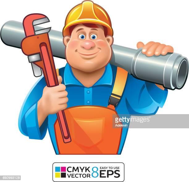 sanitary technician- plumber man - plumber stock illustrations, clip art, cartoons, & icons