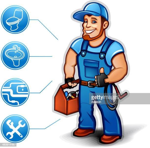 sanitary technician thumb up - plunger stock illustrations, clip art, cartoons, & icons