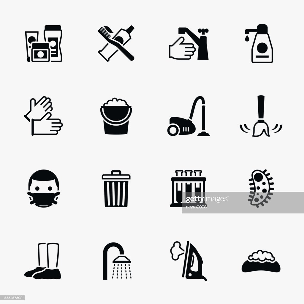 Sanitation and health vector flat icons set
