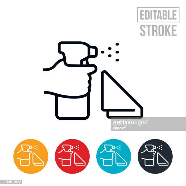 sanitation cleaning thin line icon - editable stroke - spray stock illustrations