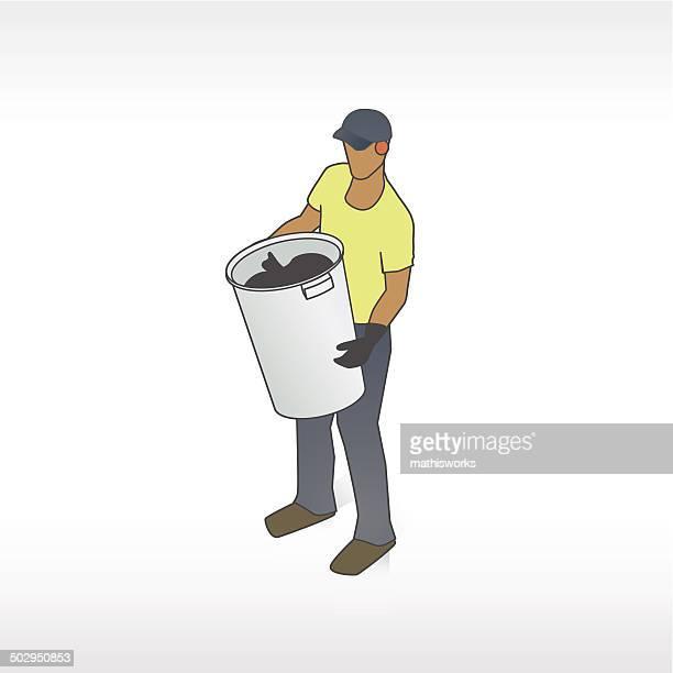 ilustrações de stock, clip art, desenhos animados e ícones de ilustração de homem do lixo - gari