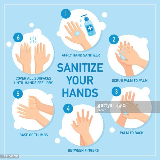 手を消毒し消毒する - 消毒点のイラスト素材/クリップアート素材/マンガ素材/アイコン素材