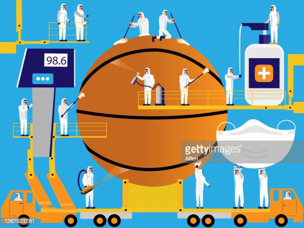 sanitizing basketball - pathogen transmission stock illustrations