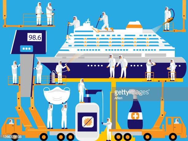sanitizing cruise ship - pathogen transmission stock illustrations