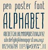 Sans-serif hand-drawn elegant pen poster minimal font, alphabet