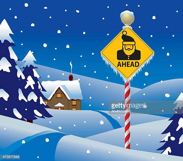 santa ahead - north pole stock illustrations, clip art, cartoons, & icons