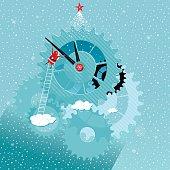 Santa and a Giant Clock