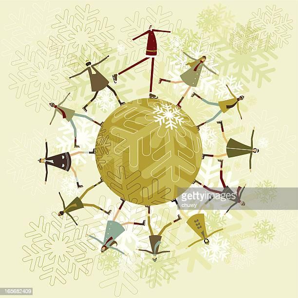 ilustraciones, imágenes clip art, dibujos animados e iconos de stock de santa y niños de patinaje - chuwy