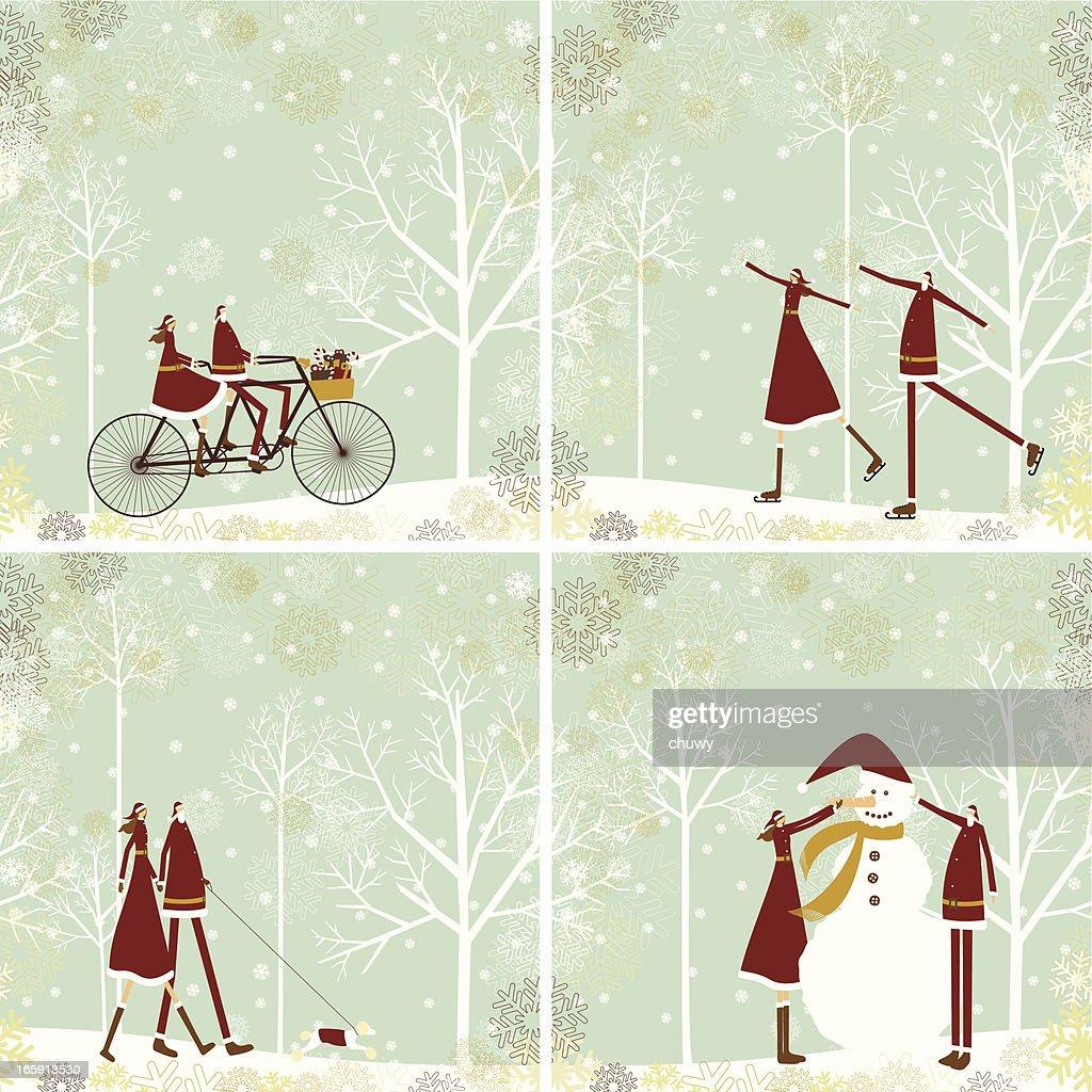 Santa y lady sobre fondo de Navidad : Ilustración de stock