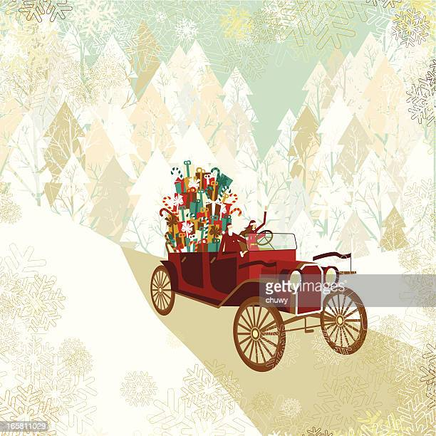 Santa and lady's christmas car