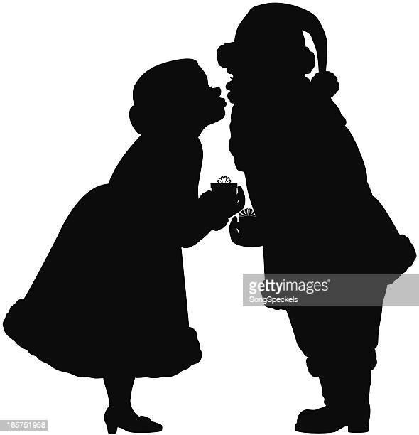 illustrazioni stock, clip art, cartoni animati e icone di tendenza di santa e mrs claus modelli - mamma natale