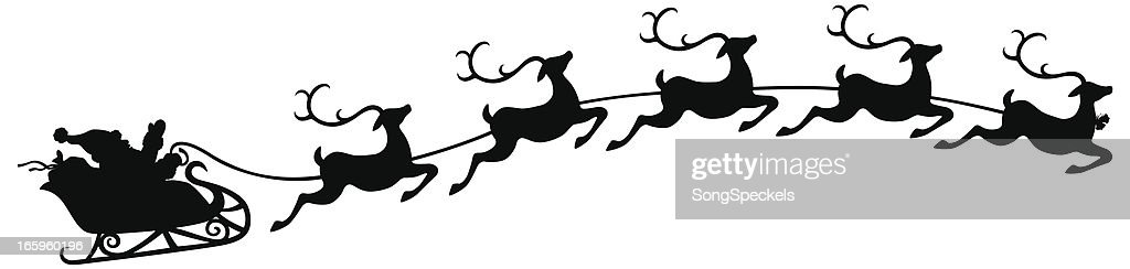 santa and sleigh with flying reindeer vector art getty