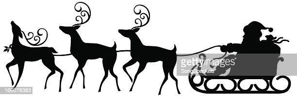 サンタがそりとトナカイ - 手綱点のイラスト素材/クリップアート素材/マンガ素材/アイコン素材