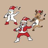 Santa and team singing cartoon
