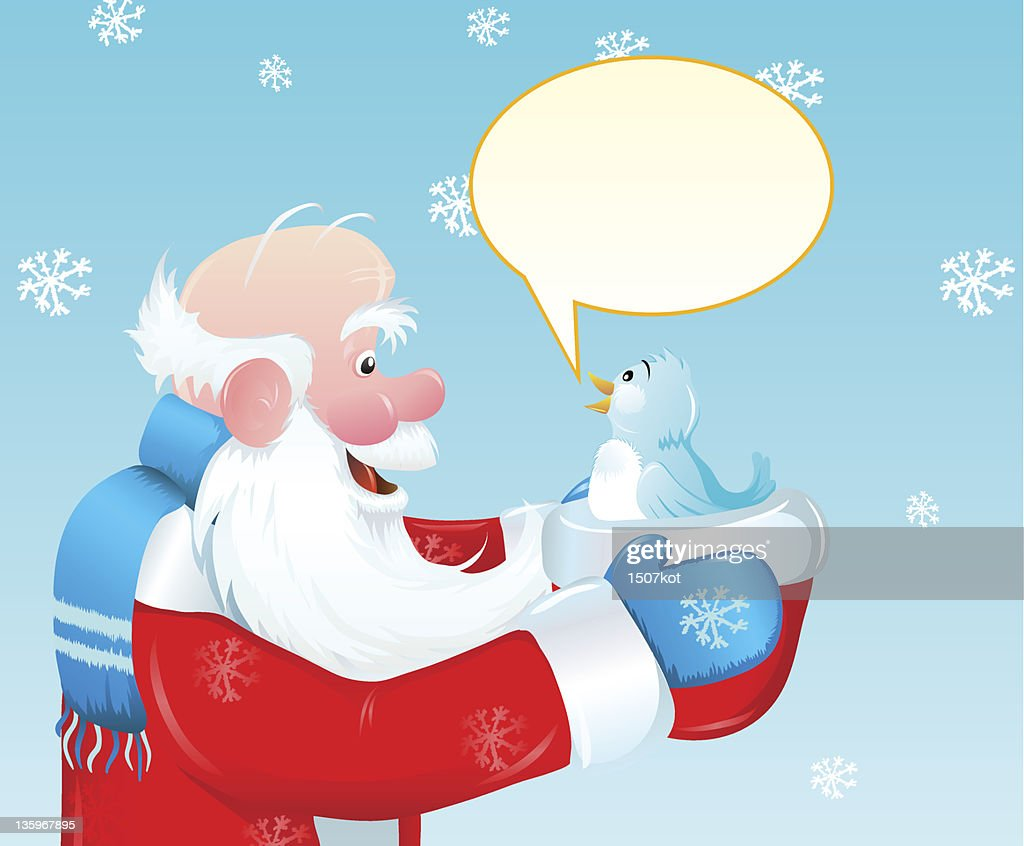 Santa and the blue bird
