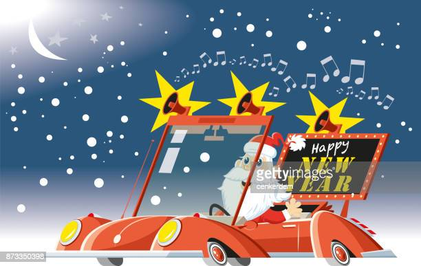 santa at night - classic car christmas stock illustrations