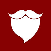 santa beard mustache white red background