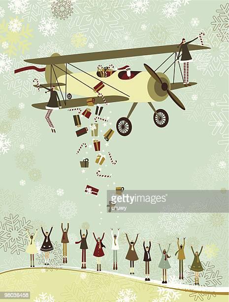 ilustraciones, imágenes clip art, dibujos animados e iconos de stock de santa por avión - chuwy