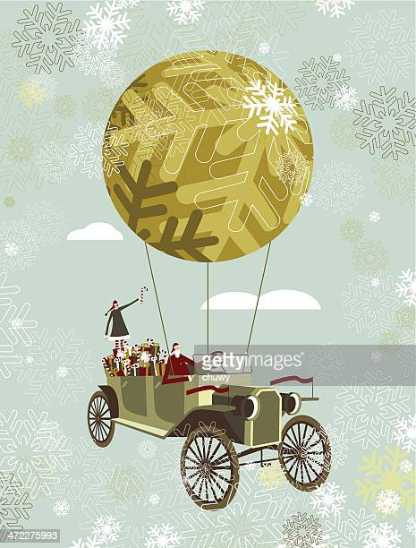 santa by car - classic car christmas stock illustrations