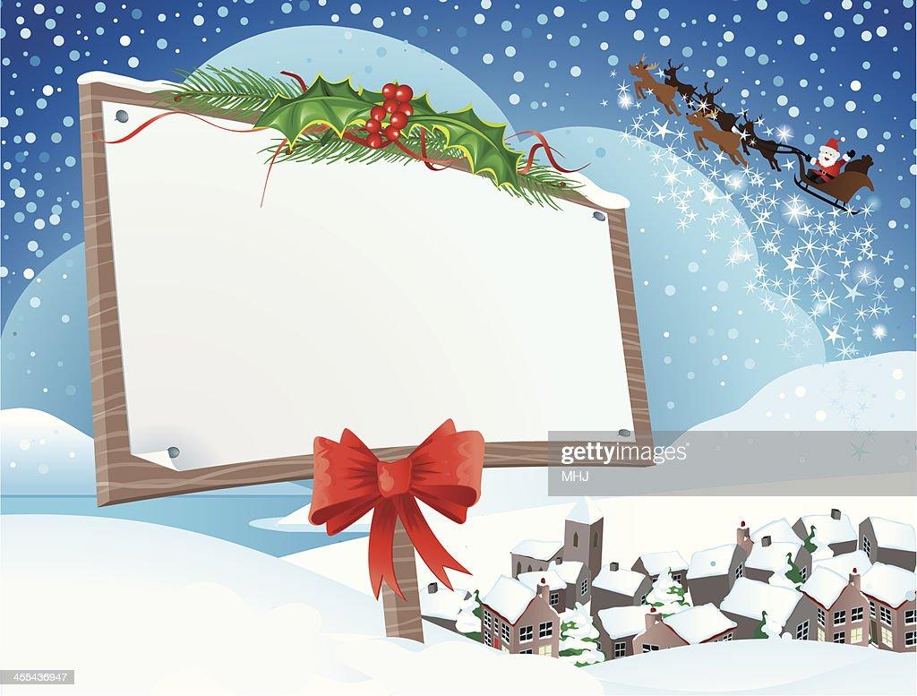 Santa An Weihnachten Schneeszene Undhorizontal Vektorgrafik   Getty ...