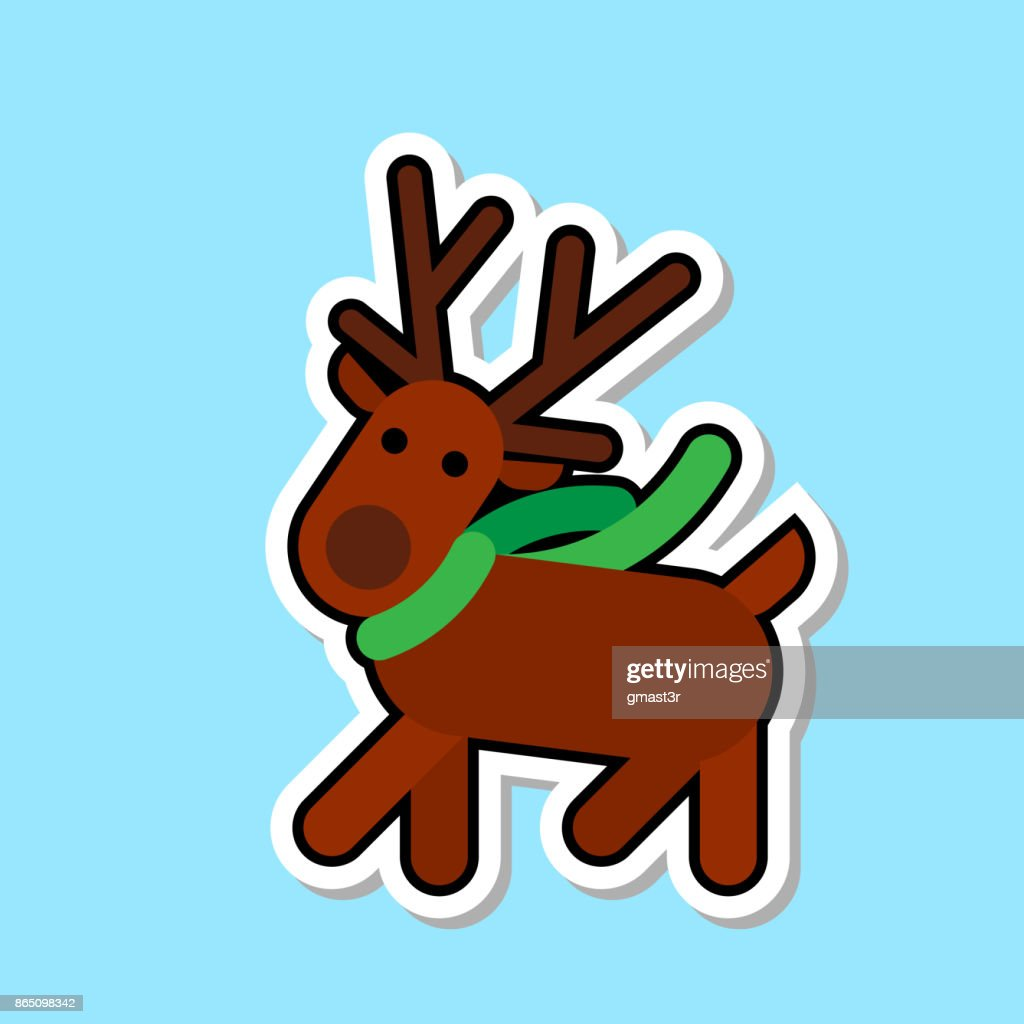 Santa ClaReain Deer Icon Isolated Cute Christmas Sticker Concept