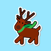 Santa ClaReain Deer Icon Isolated Cute Christmas Sticker Concept