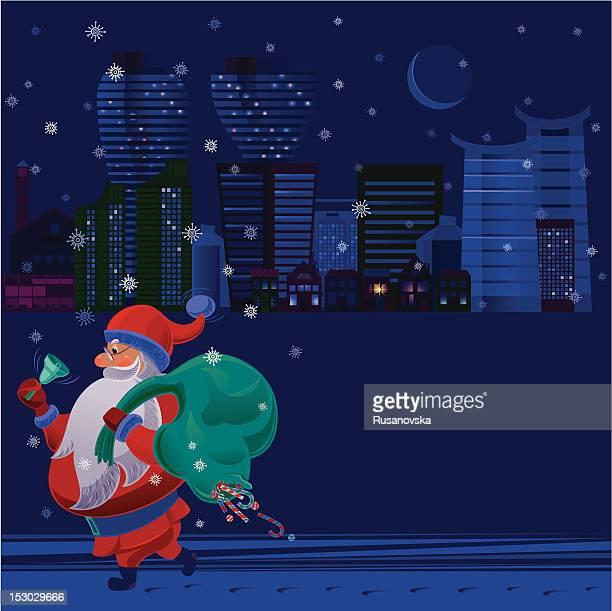 santa claus and big city - sac stock illustrations, clip art, cartoons, & icons