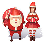 Santa Claus and Christmas girl