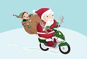 Santa Claus and Elf on Vespa