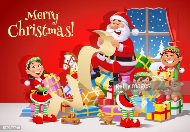 santa claus and elves preparing for christmas - non urban scene stock illustrations