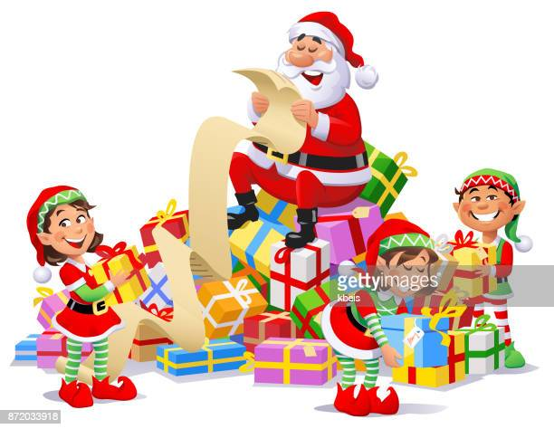 Santa Claus And Elves With A Pile of Christmas Presents