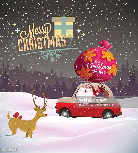 Santa Claus and his car