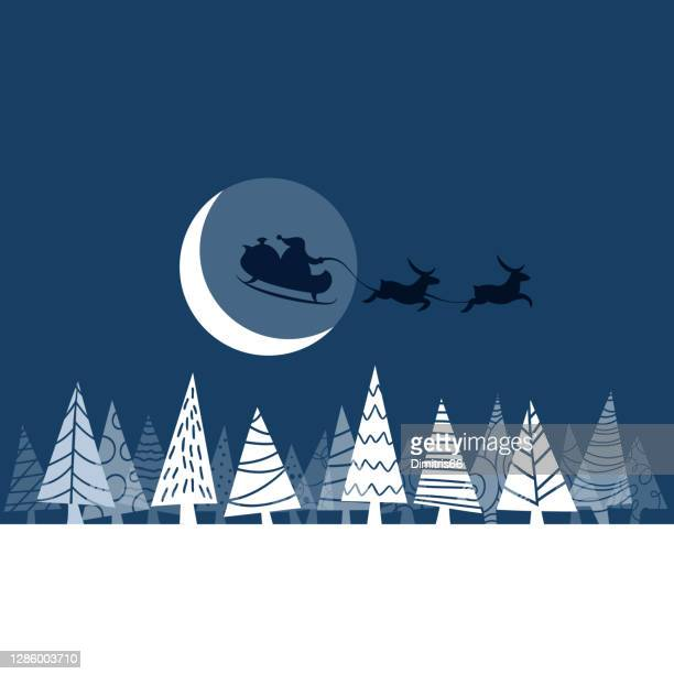 santa claus and his sleigh on christmas moonlight - sleigh stock illustrations