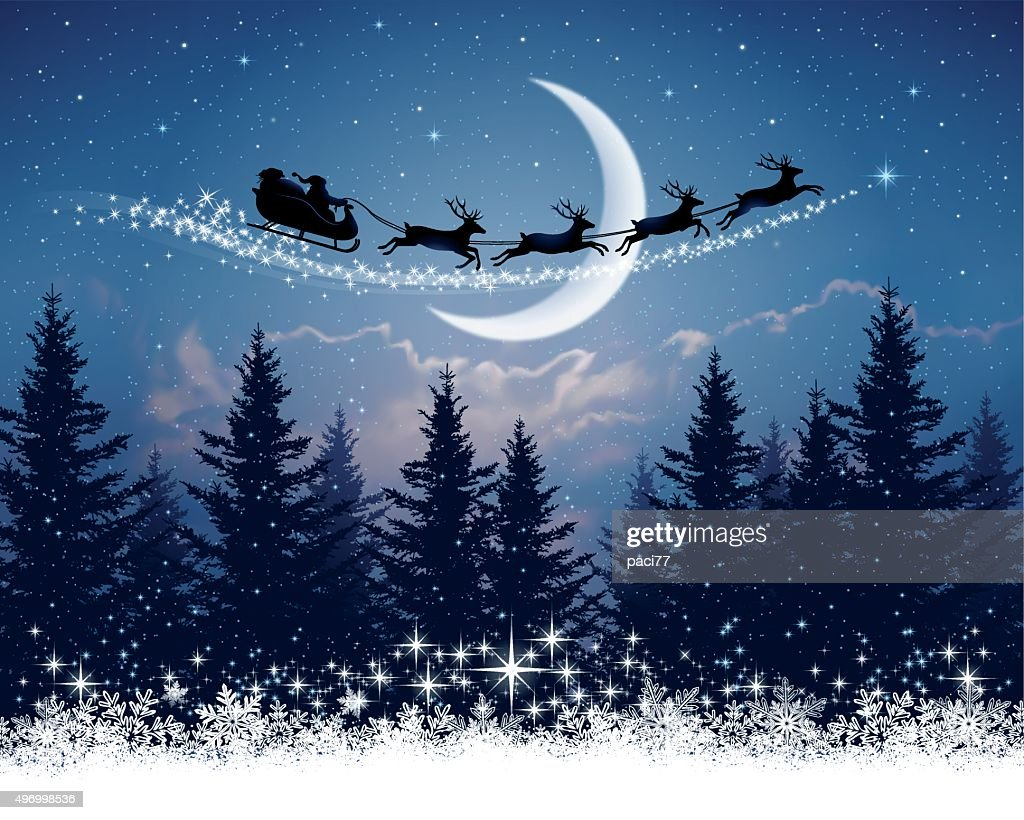 Santa Claus and his sleigh on Christmas night : Stock Illustration