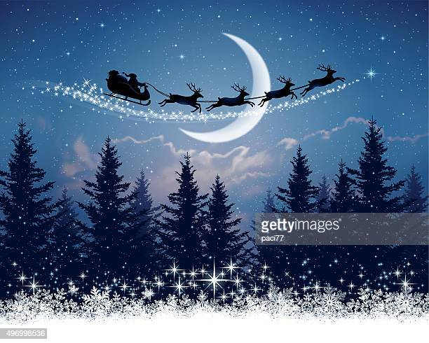 santa claus and his sleigh on christmas night - non urban scene stock illustrations
