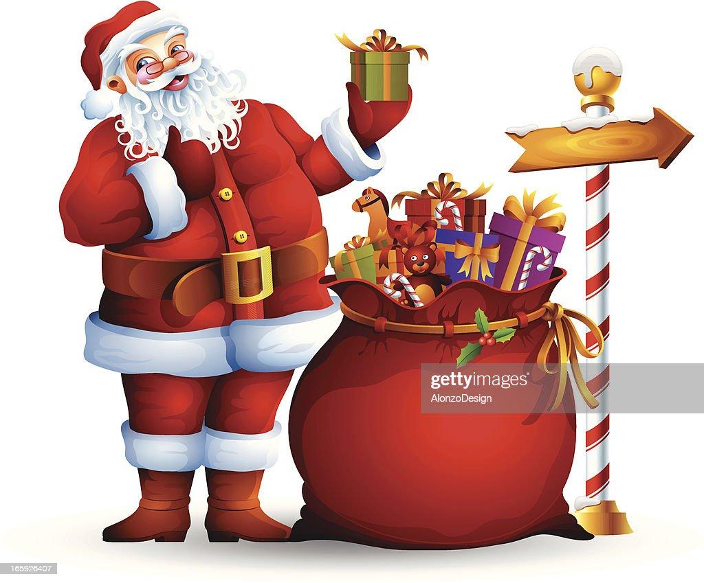 santa claus and sack with gifts vector art - Santa Claus Gifts