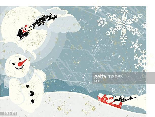 Weihnachtsmann mit Schlitten fliegen über Weihnachten Dorf horizontale Motiv