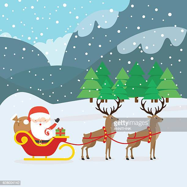 santa claus and sleigh - reindeer stock illustrations