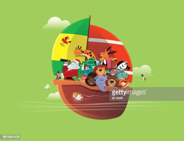illustrations, cliparts, dessins animés et icônes de père noël et animaux sauvages dans un bateau à voile - cupidon humour