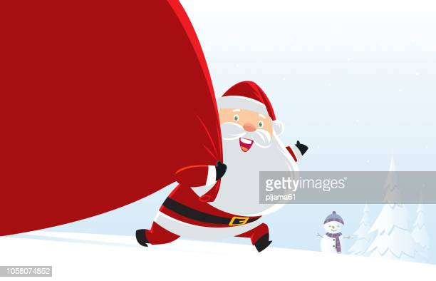 santa claus big bag gift on snowy background - costume stock illustrations