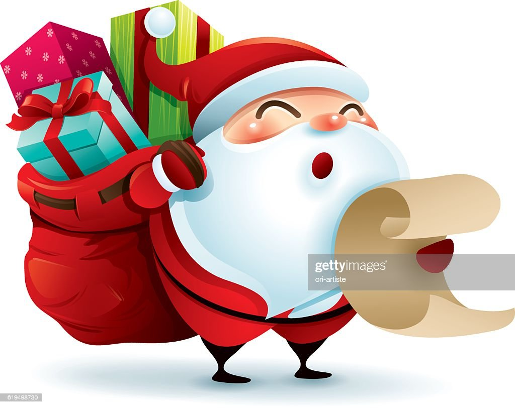 Santa Claus carrying sack and holding a list