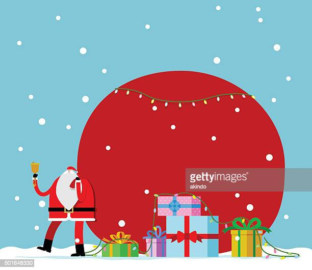 santa claus carrying sack full of gifts - sac stock illustrations, clip art, cartoons, & icons