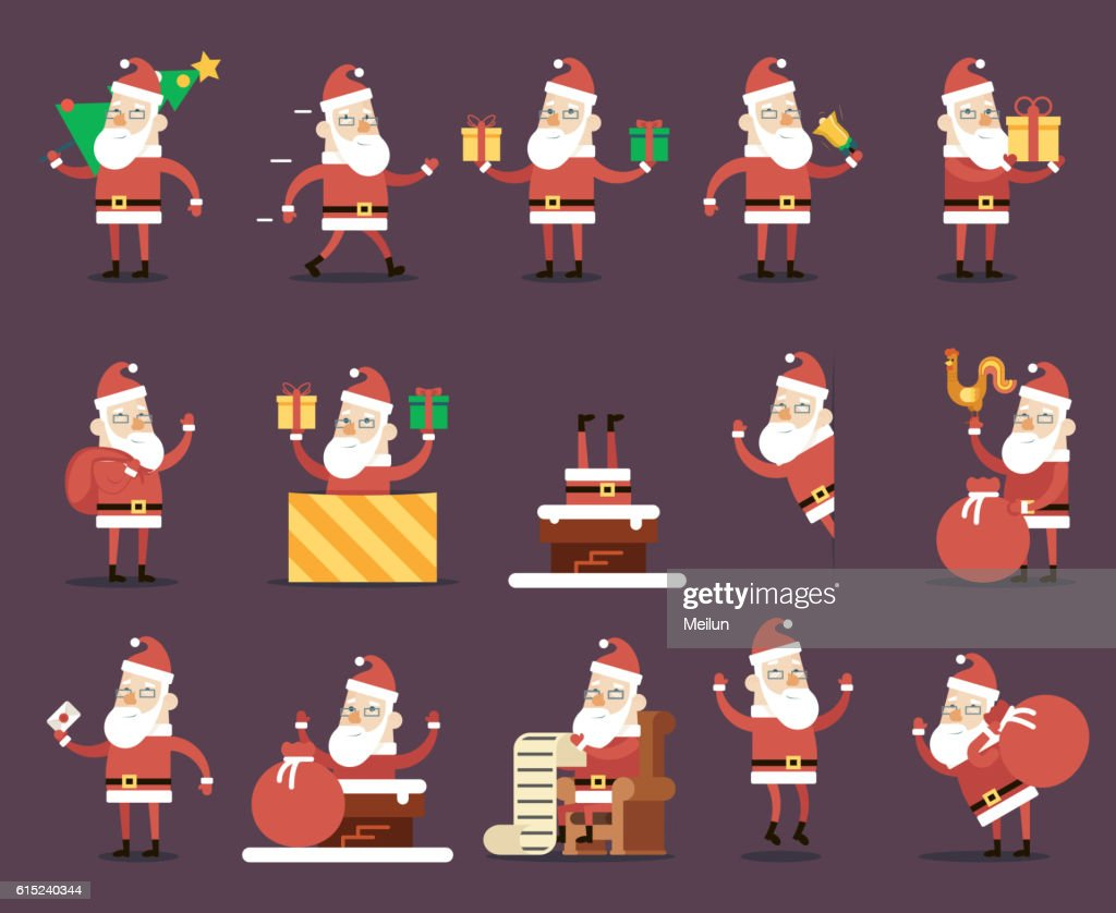 Santa Claus Cartoon Characters Poses Christmas New Year Icons Set