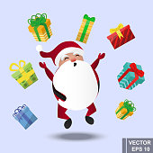 Santa Claus. cartoonish happy. New Year's and Christmas. present. Happiness. For your design.