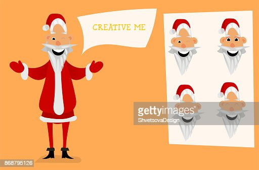 c27c6345a3 Santa Claus Character Creation Set Full Length Different Views Emotions  Gestures Isolated Against White Background Build Your Own Design Cartoon  Flatstyle ...