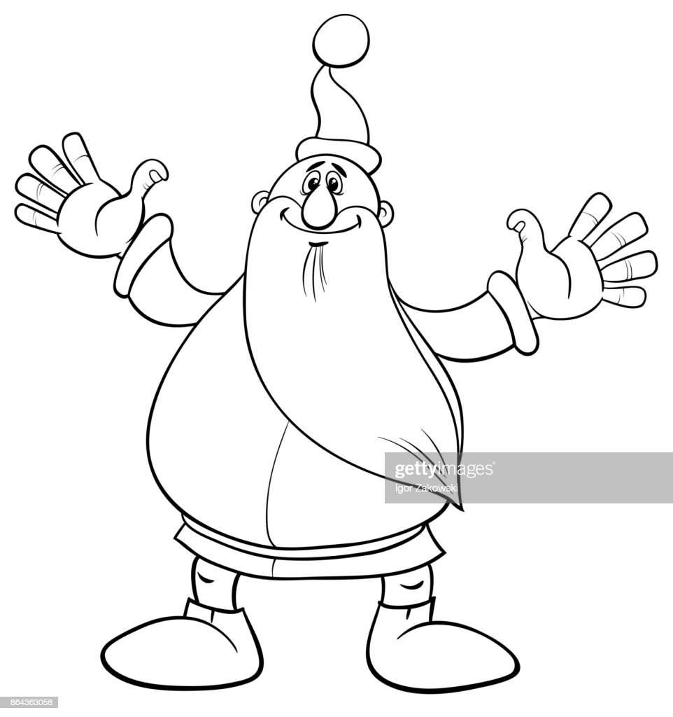 santa claus christmas coloring page vector art