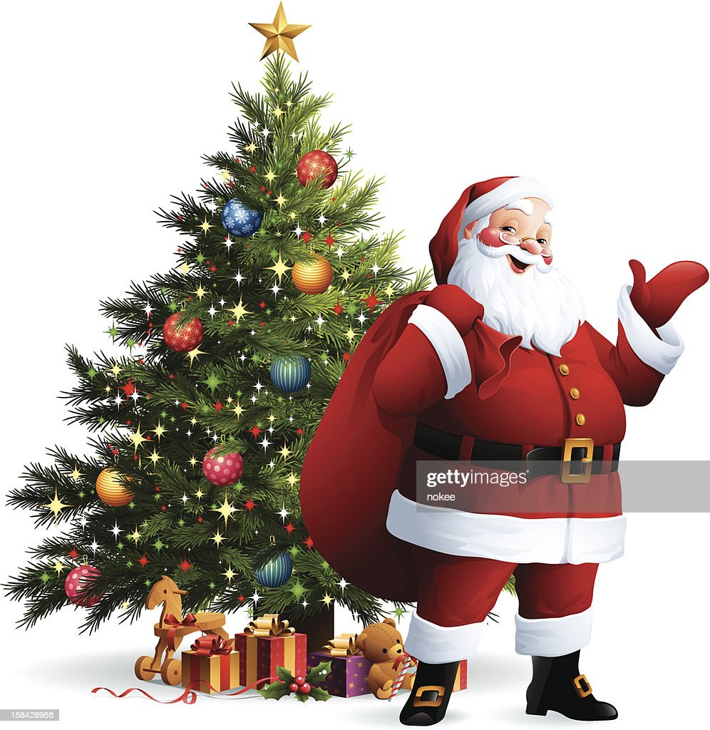 santa claus christmas tree vector art