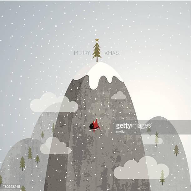 Santa Claus climbing Christmas tree mountain rock snow vector