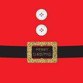 Santa Claus Coat buttons golden glitter belt. Merry Christma Flat